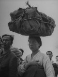 Refugees Carrying Possession on Their Heads and Shoulders Premium Photographic Print by John Florea