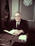 President Franklin D. Roosevelt Before Broadcasting Sixth War Loan Drive, in His Office Premium Photographic Print by George Skadding