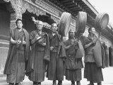 Monks Outdoors at the Kumbun Lamaist Monastery Playing Music Premium Photographic Print by Mark Kauffman
