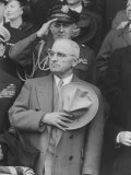 "President Harry S. Truman Saluting ""Star Spangled Banner"" at Opening Game of Baseball Season Photographic Print by George Skadding"