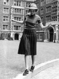 Model in Hat, Sweater and Skirt, Appearing to Balance on Curb, c.1938 Premium Photographic Print by Alfred Eisenstaedt