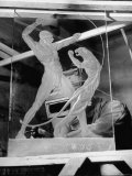 Sculptor W. G. Lowry Sandblasting Glass Into a Sculpture Premium Photographic Print by Francis Miller