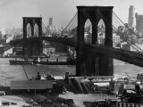View of the Brooklyn Bridge Looking Toward Brooklyn Premium Photographic Print by Andreas Feininger