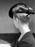 Rear View of Model in Hat W Veil and Bow at Back over Upswept Hair Premium Photographic Print by Alfred Eisenstaedt