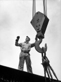Man Working as a Rigger During Building of a Ship Premium Photographic Print by George Strock