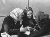 Old Women Chatting Together, Outside Apartment Building Premium Photographic Print by Stan Wayman