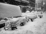 View of a Big Snowstorm in New York City Premium Photographic Print by Al Fenn