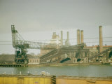 Photo Taken from Window of a Train Showing Industrial Waterfront Scene Premium Photographic Print by Walker Evans