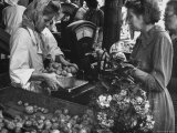 Scales at Outdoor Stall Weighing Vegetables at Market Premium Photographic Print by Stan Wayman