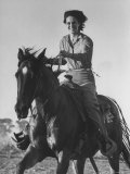 Model Riding a Horse Premium Photographic Print by Allan Grant