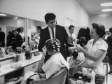Women Getting Hair Styled in Beauty Salon at Saks Fifth Ave. Department Store Fotoprint van Alfred Eisenstaedt
