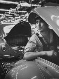 One of Many Italian Immigrants Working in Volkswagen Plant Premium Photographic Print by Paul Schutzer
