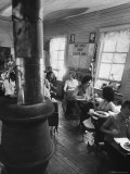 Mrs. Lyndon B. Johnson Eating Lunch with School Kids Premium Photographic Print by Stan Wayman