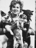Tamara Kosaryeva Holding Dogs at Soviet Academy of Sciences Premium Photographic Print by James Whitmore