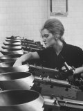 Woman Worker Operating an Automatic Size Sorting Machine Premium Photographic Print by James Whitmore