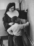 Teacher and Her Student at a New York Parochial School Premium Photographic Print by Al Fenn