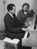 Richard M. Nixon Playing the Piano After He Voted in the California Elections Premium Photographic Print by Ralph Crane