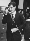 Senator Edward M. Kennedy Using the Phone Premium Photographic Print by Leonard Mccombe