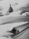 Snow Banked on Top of a Car on Capitol Hill Premium Photographic Print by Stan Wayman