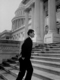 Senator Edward M. Kennedy Walking Up Steps of Senate Wing Photographic Print by John Dominis