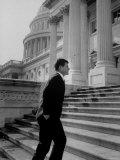 Senator Edward M. Kennedy Walking Up Steps of Senate Wing Photographic Print by John Dominis