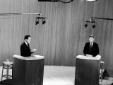 Senator John F. Kennedy and Vice President Richard M. Nixon, During 4th Nixon Kennedy TV Debate Premium Photographic Print by Joe Scherschel