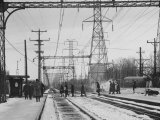 Close Up of Chicago North Shore Railroad Commuters Premium Photographic Print by Francis Miller