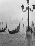 Moored Gondolas on a Foggy Grand Canal with Santa Maria Della Salute Church in the Background Photographic Print by Dmitri Kessel