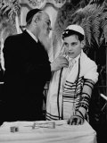 Rabbi David S. Novoseller Adjusting Carl Jay Bodek's Robe During Ceremony Premium Photographic Print by Lisa Larsen