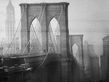 New York City's Brooklyn Bridge During a Bleak Afternoon Photographic Print by Leonard Mccombe