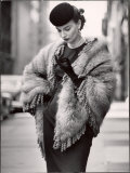 Model Wearing a Fringed Shawl Made of Natural Norwegian Blue Fox, Selling For $750 Photographie par Gordon Parks
