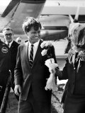 Senator Robert F. Kennedy at Airport During Campaign Trip to Help Election of Local Democrats Premium Photographic Print by Bill Eppridge