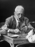 Old Age Essay: Senior Playing Poker Photographic Print by Alfred Eisenstaedt