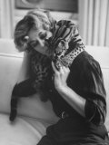 Ocelot Who is House Pet, Prowling over Mrs. Si Merrill at Home Premium Photographic Print by Al Fenn