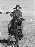 Shaggy Horse is Ridden by Mongolian Herdsman Premium Photographic Print by Howard Sochurek