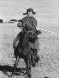 Shaggy Horse is Ridden by Mongolian Herdsman Premium Photographic Print by Howard Sochurek