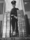 With Gold Bars in Federal Reserve Bank, Guard Wearing Protective Aluminum Overshoes Premium Photographic Print by Walter Sanders