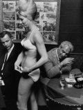 Show Girl Modeling Bikini For Customers at Lunch Premium Photographic Print by Bill Ray