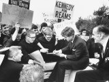 Senator Robert F. Kennedy Campaigning Premium Photographic Print by Bill Eppridge