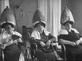 Old Age Essay: Seniors under Dryers in Hair Salon Premium Photographic Print by Alfred Eisenstaedt