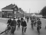 People Riding Bicycles in the Streets Premium Photographic Print by Stan Wayman