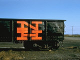 Railroad Box Car with Logo NH Premium Photographic Print by Walker Evans