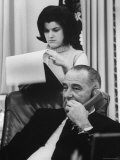 President Lyndon B. Johnson with Daughter Lucy Baines Johnson in White House Premium Photographic Print by Stan Wayman