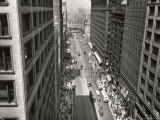 View Looking Down on Pedestrians Next to Bus and Streetcar Traffic on Bustling State Street Premium Photographic Print by Gordon Coster