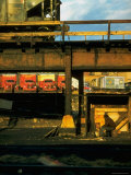 Moody Sunlight Showing Arty Grouping of Hopper Car, Rusting Elevated Span, Trucks, Etc Premium Photographic Print by Walker Evans
