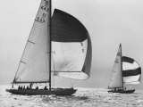 View of Sailboats During the America's Cup Trials Premium Photographic Print by George Silk