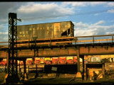 Moody Sunlight Showing Hopper Car of the Reading Railroad Idle on Rusting Elevated Span Premium Photographic Print by Walker Evans