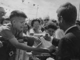 Senator John F. Kennedy Shaking Hands with the Crowd Premium Photographic Print by Stan Wayman