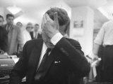 Senator John F. Kennedy During the Primary Election Night Premium Photographic Print by Stan Wayman