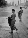 Monks Begging For Food at Dawn on Main Thoroughfare of Bangkok Premium Photographic Print by Howard Sochurek